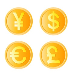 gold coin four monetary unit vector image