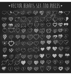 Set of hearts chalkboard blackboard vector image vector image