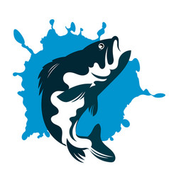 fish and water silhouette vector image