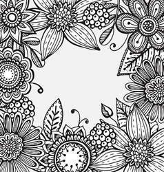 frame with hand drawn doodle fancy flowers vector image vector image