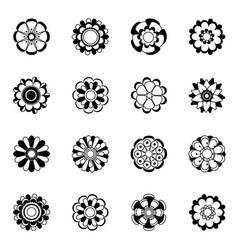 monochrome floral icon set black flowers vector image