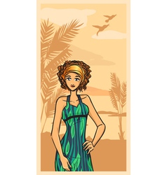 Summer and beautiful girl in green dress vector image vector image