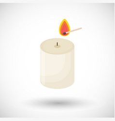candle and matchstick flat icon vector image