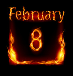 eighth february in calendar of fire icon on black vector image vector image