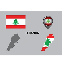 Map of Lebanon and symbol vector image