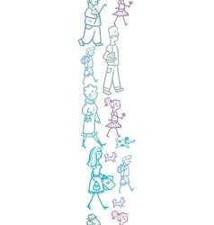 People walking vertical seamless pattern vector image