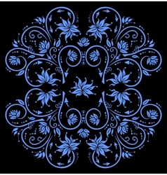 Abstract blue floral ornament vector image vector image