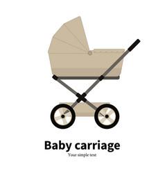 cartoon beige baby carriage pram vector image vector image