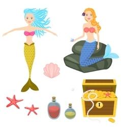 Cartoon mermaids and treasure dower chest clip art vector image