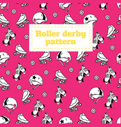 seamless pattern on the theme of roller derby and vector image