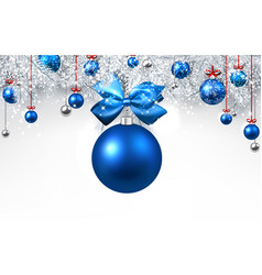 white background with blue christmas ball vector image