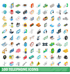 100 telephone icons set isometric 3d style vector image