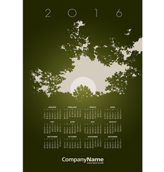 2016 Tree Hole Calendar vector