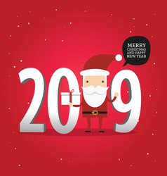 2019 new year and merry christmas with santa claus vector image