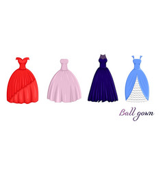A set of ball gowns vector