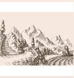 A stair in mountains alpine landscape and sea vector