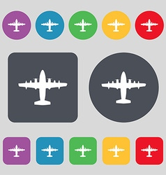 aircraft icon sign A set of 12 colored buttons vector image