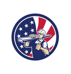 American lumber yard worker usa flag icon vector