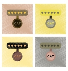 Assembly flat shading style icons cat collar vector