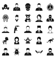 Avatar icons set simple style vector