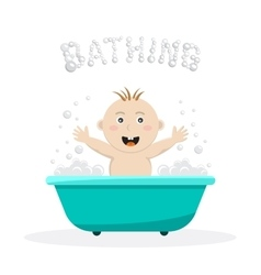 Baby bathing bath vector