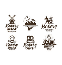 Bakery bakehouse label or logo bread baked vector