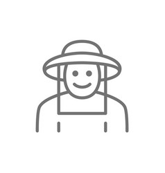 beekeeper in protective clothing line icon vector image