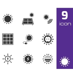 black solar energy icons set vector image