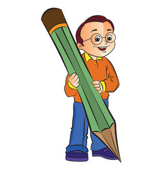 boy with a giant pencil vector image