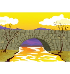 Bridge made up of stone vector