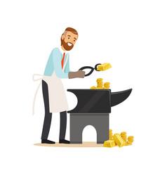 Businessman forging money on the anvil make money vector
