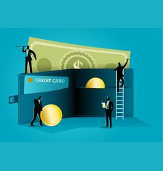 businessmen arranging money in giant wallet vector image