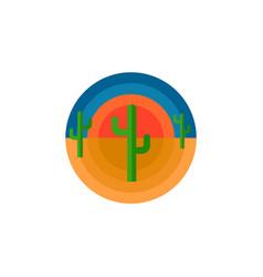 cactus desert and sun round emblem t-shirt print vector image
