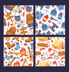 camping hiking stickers seamless pattern vector image