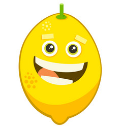 Cartoon lemon fruit character vector