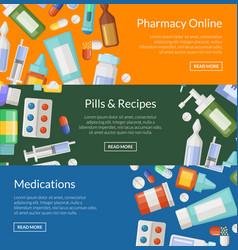 Cartoon pharmacy or medicines horizontal vector