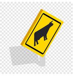 cattle traffic warning isometric icon vector image