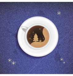 Christmas Cup of coffee on a jeans background vector