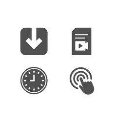 Clock load document and video file icons click vector
