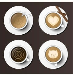 Coffee cups assortment top view collection vector image