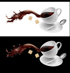 Coffee in white mug on white and black background vector