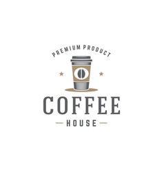 coffee shop logo template coffee cup or tea vector image