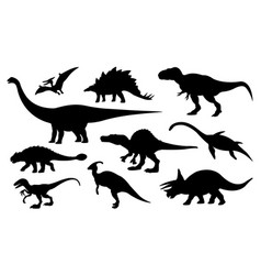 collection dinosaurs silhouettes isolated vector image