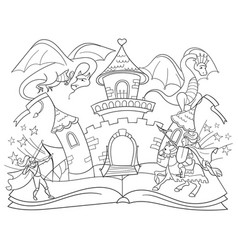 Coloring fairy open book tale concept kids vector