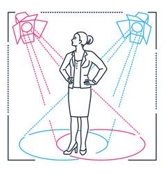 confident businesswoman - line design style vector image