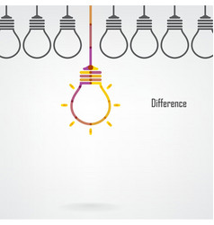 Creative light bulb difference idea concept backgr vector