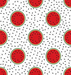 Cut ripe watermelon and black watermelon seeds vector