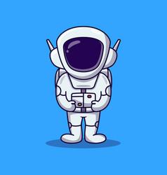 Cute astronaut standing cartoon spaceman cartoon vector