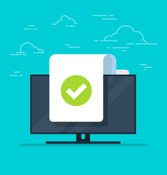 Document and checkmark icon on monitor vector