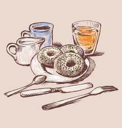 Donuts for a breakfast vector